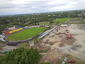 Work began July 13 on the new Richardson Stadium. Site services have been installed to the east of the current structure, as seen from this photo taken from atop John Orr Tower. —John Garrah/M.Sullivan and Son